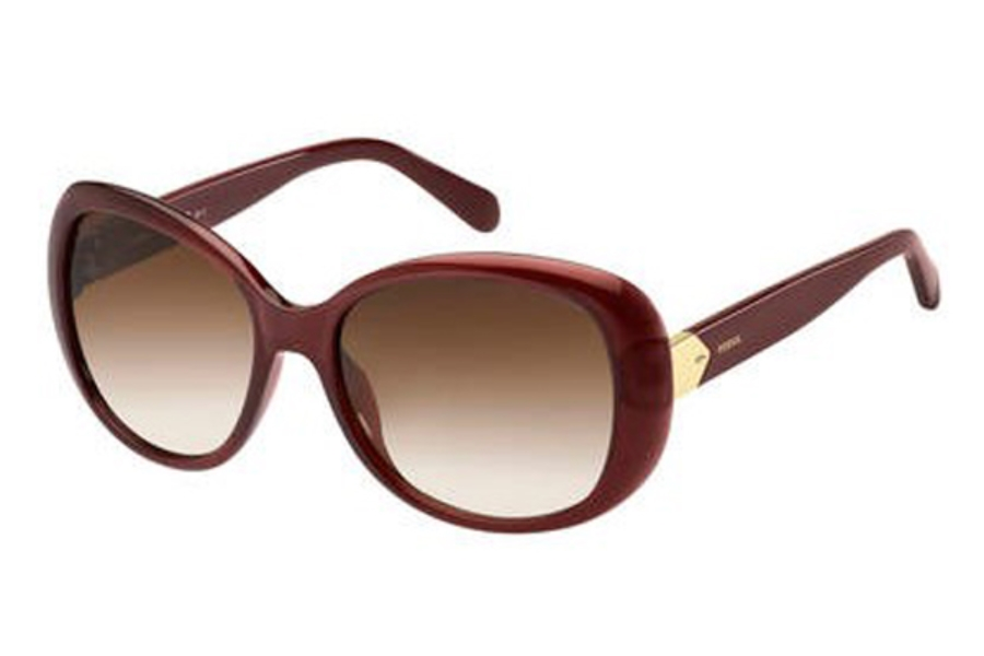 Fossil FOSSIL 3080/S Sunglasses in 0IY1 Crystal Burgundy (HA brown gradient lens)